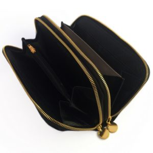Double genuine leather ladies purses/wallets in Black
