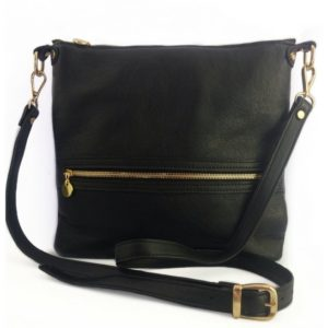 Genuine leather black crossbody bag