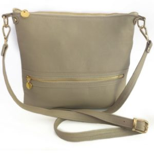 Taupe/Stone genuine leather crossbody bag