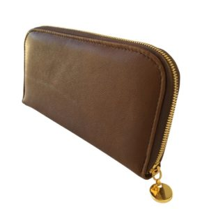 Single zip ladies wallet/purse in brown