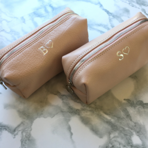 Genuine leather small makeup loaf bag- Ballet Pink with Silver Monogram- Made in South Africa