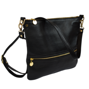 Genuine Leather Crossbody sling bag with personalisation- Made in South Africa with Custom personalisation- Classic Black