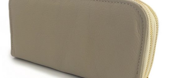 Double genuine leather ladies purses/wallets in Taupe