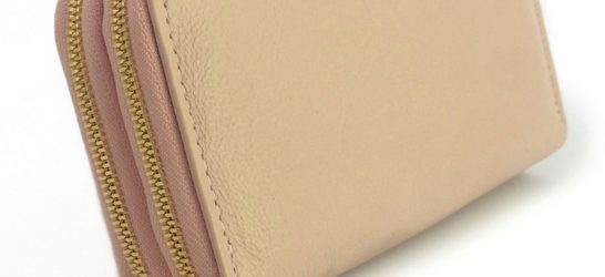 Double genuine leather ladies purses/wallets in Pink