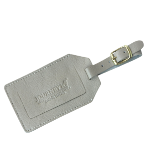 Genuine Leather Luggage Tag Taupe