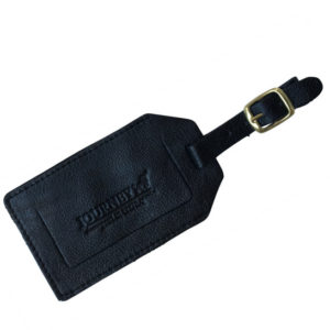 Genuine leather Taupe Luggage Tag black