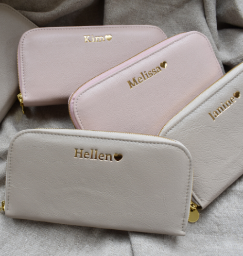 Ballet Pink Single Zip Ladies Purse/Wallet Made in South Africa Genuine Leather with Personalisation
