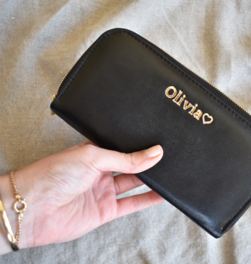 Classic Black Single Zip Ladies Purse/Wallet Made in South Africa Genuine Leather with Personalisation