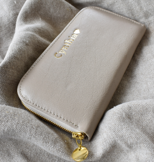 Taupe/Beige Single Zip Ladies Purse/Wallet Made in South Africa Genuine Leather with Personalisation