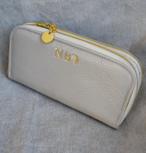 Taupe/Beige Double Zip Ladies Purse/Wallet Made in South Africa Genuine Leather with Personalisation
