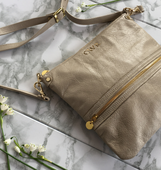 Genuine Leather Crossbody Bag Made in South Africa Classic Taupe/Beige