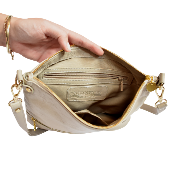 Genuine Leather Crossbody sling bag with personalisation- Made in South Africa with Custom personalisation- Beige/Taupe/Stone