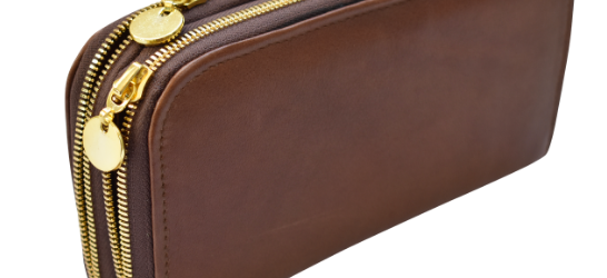 Double genuine leather ladies purses/wallets in Brown- Made in South Africa