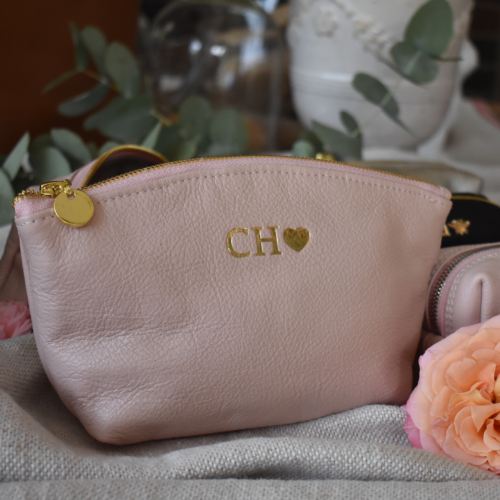 GENUINE LEATHER-BALLET PINK AND GOLD LUNA COSMETIC BAG- HANDCRAFTED IN SOUTH AFRICA