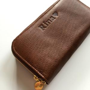 saddle genuine leather double zip
