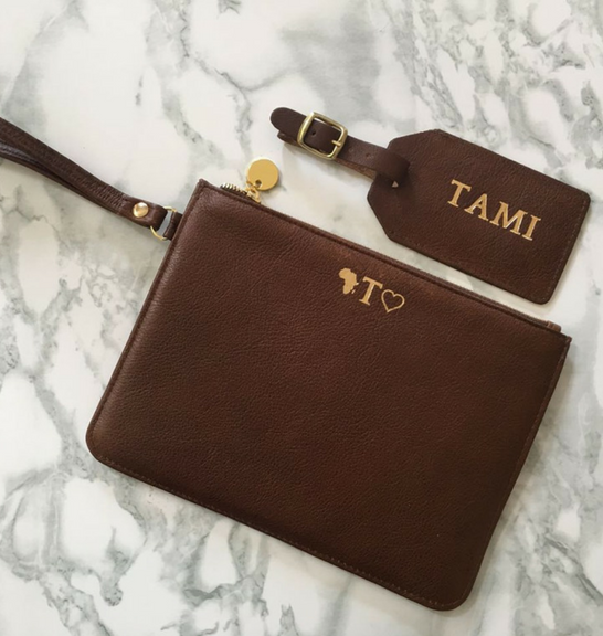 Genuine leather Brown pouch with wrist lanyard-personalised