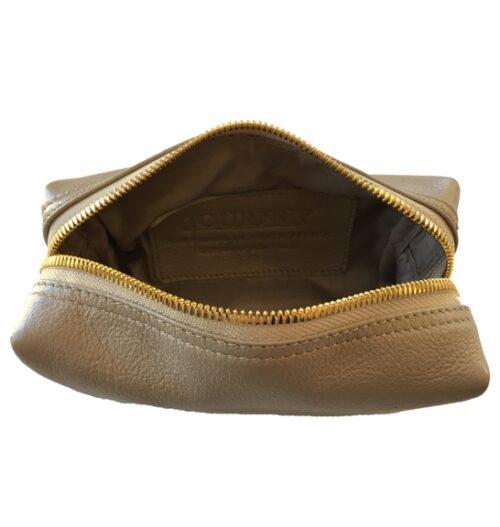Taupe make up toiletry bag- loaf bag