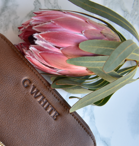 Brown Single Zip Ladies Purse/Wallet Made in South Africa Genuine Leather with Personalisation