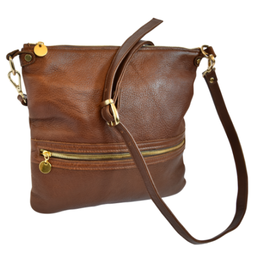 Genuine Leather Crossbody sling bag- Made in South Africa with Custom personalisation- Silky Saddle Brown
