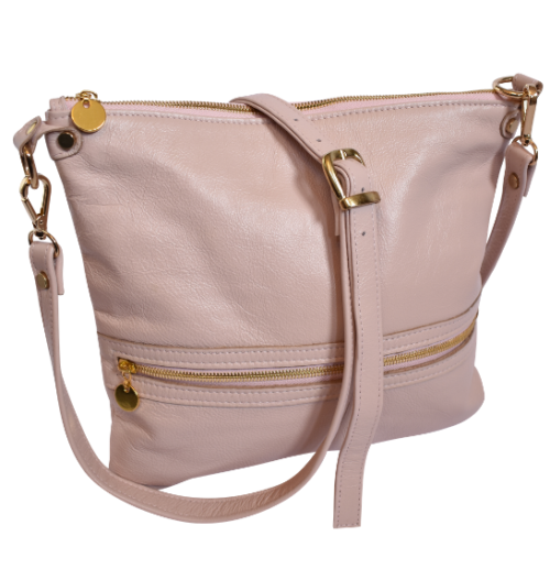 Genuine Leather Crossbody sling bag- Made in South Africa with Custom personalisation- Pale Pink