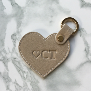 Genuine Leather personalised Heart Keyring