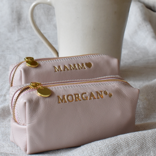 Genuine Leather Ballet Pink and Gold Small Loaf Cosmetic or Pencil bag with custom Personalisation