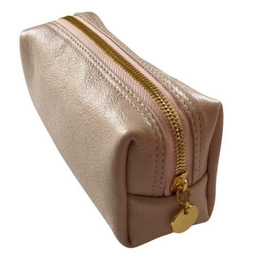 Small Pink Genuine Leather makeup Bag- made in south Africa