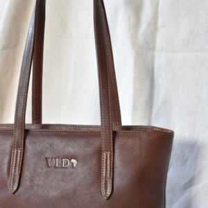 Saddle Brown Plush everyday Genuine Leather Tote -Handbag- Made in South Africa with custom embossed personalisation