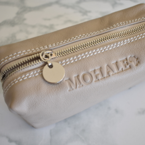 Genuine leather small makeup loaf bag- Taupe/Beige with Silver Monogram- Made in South Africa
