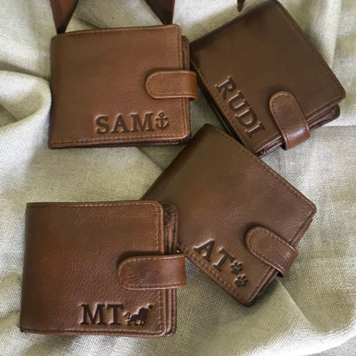 Genuine Leather Bi-Fold Wallet with personalisation -Journey Leather