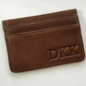 Genuine Leather Saddle brown Card Holder personalised
