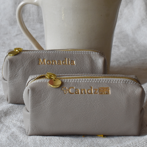 Genuine Leather Taupe and Gold Small Loaf Cosmetic Pencil bag with custom Personalisation