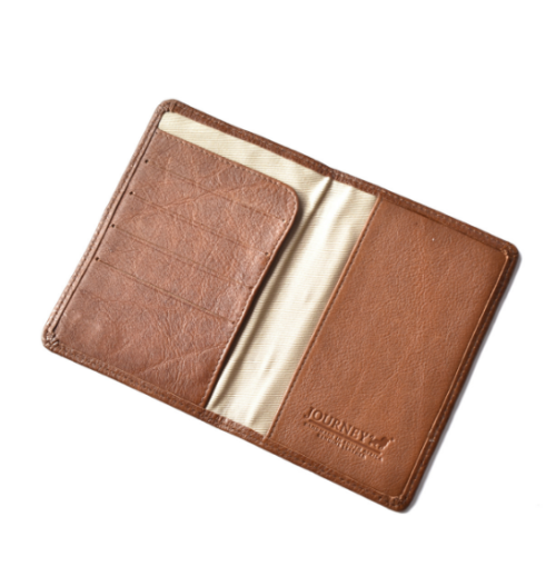 Saddle Brown Genuine Leather passport cover with EMBOSSED personalisation Custom - Made in South Africa