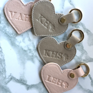 Genuine leather personalised heart keyrings with initials- made in South Africa