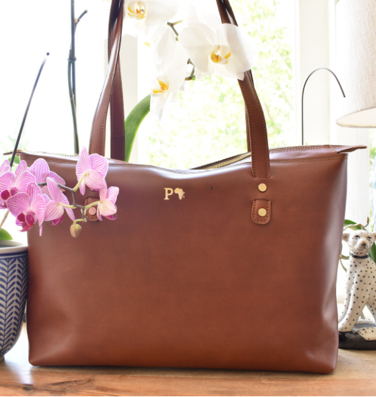 Genuine leather Brown Tote Handbag- handcrafted in South Africa
