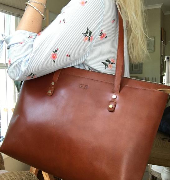 Genuine leather Tote handbag- Personalised embossing