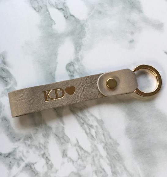 Genuine leather loop personalised keyring