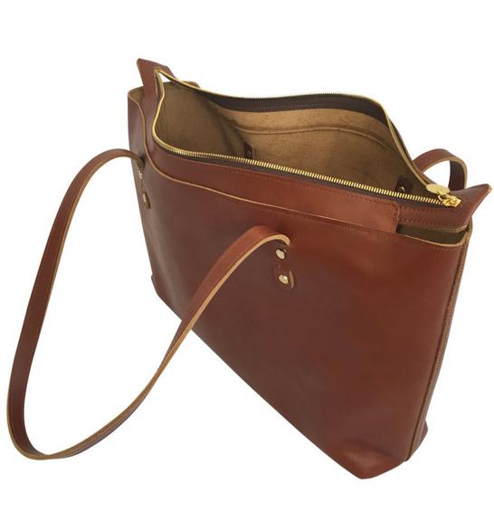 The Genuine Leather Perfect Zipped Tote handbag