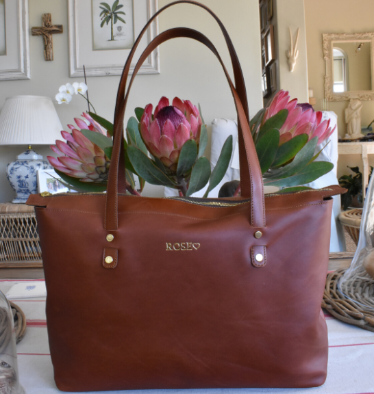 Genuine Leather Zipped Tote Handbag Made in South Africa Classic Tan/Brown with Custom Personalisation