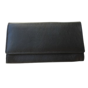 Genuine Leather Classic Ladies Purse, Proudly hand-crafted/Made in South Africa- Black