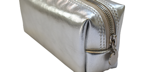 Navy Genuine Leather Custom Personalised Small Loaf Make Up Bag Gifting - Made in South Africa