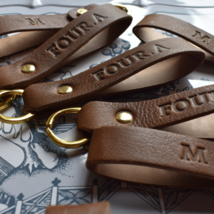 Genuine leather loop keyrings personalised customised