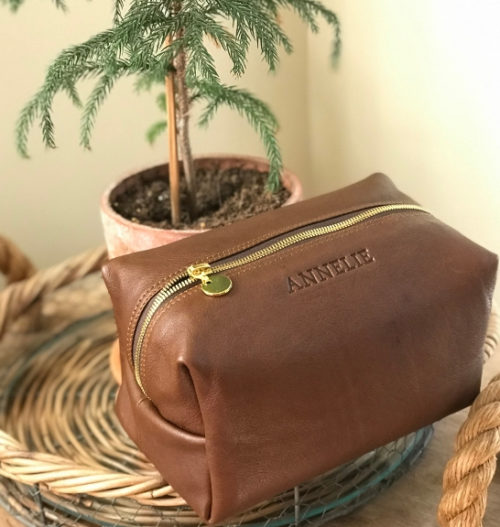 Genuine leather Large Loaf Toiletry Cosmetic Bag- Saddle Brown Made In South Africa