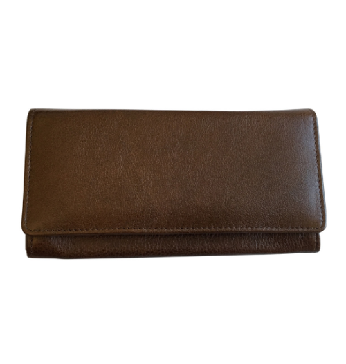 Genuine Leather Classic Ladies Purse, Proudly hand-crafted/Made in South Africa- Saddle Brown