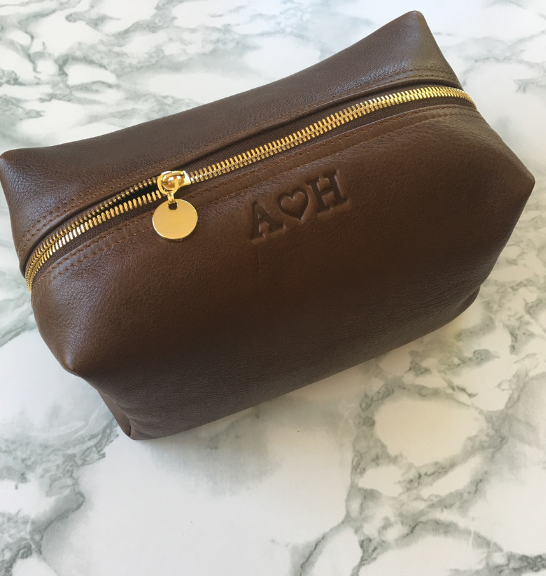Genuine leather Large Loaf Toiletry Cosmetic Bag- Brown