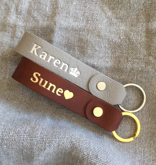 Genuine Leather Loop Keyring with personalised name foiling. Handcrafted in South Africa by Journey Leather.