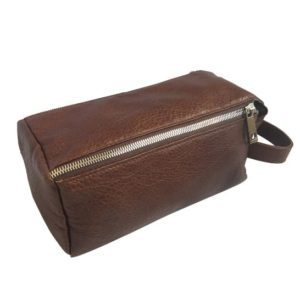 Genuine Leather Toiletry Saddle Brown Toiletry bag- Made in South Africa with Personalisation