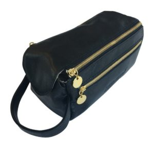 Genuine Leather Toiletry Classic Black Toiletry bag- Made in South Africa with Personalisation