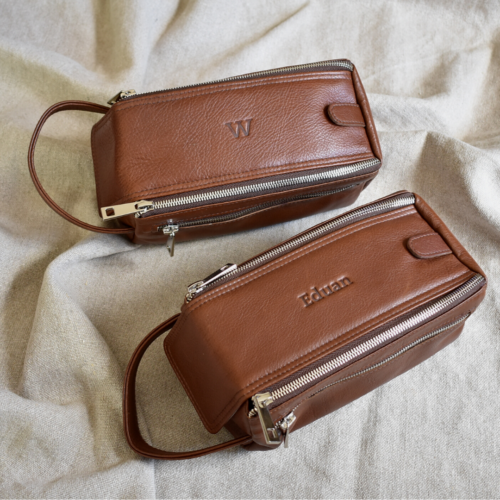 Brown Zip-Up Toiletry Bag with Persoalisation- Genuine leather Made in South Africa