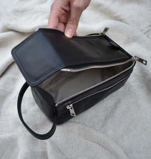 Genuine Leather Black Zip Up Toiletry Bag Made in South Africa with personalisation